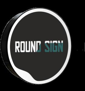 Kaseton okrągły, dwustronny z logiem round sign